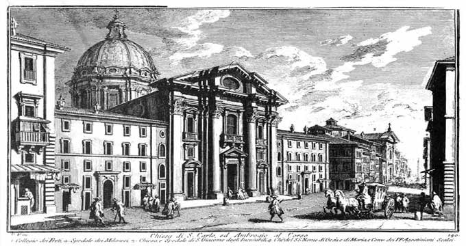 The Basilica of SS. Ambrose and Charles on the Corso (Print by Giuseppe Vasi)